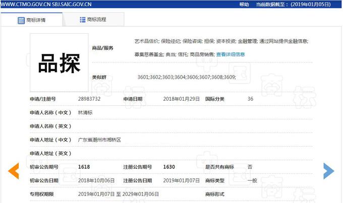品探自媒体金融商标已通过国家知识产权局核准注册